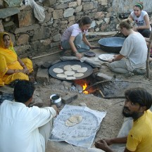 Students lending a hand at making chapatis